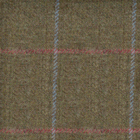 Brown with Blue and Pink Check Tweed