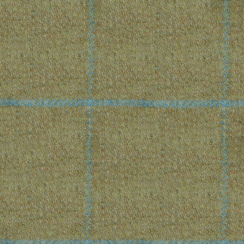Sand with Sky Blue Check Tweed