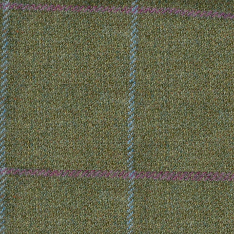 Moss Green with Blue & Pink Check Tweed