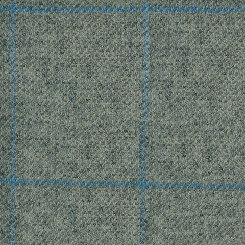 Light Grey with Blue Check Tweed