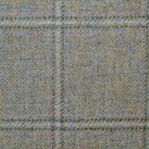 Light Grey Stone with Green and Pink Check Tweed