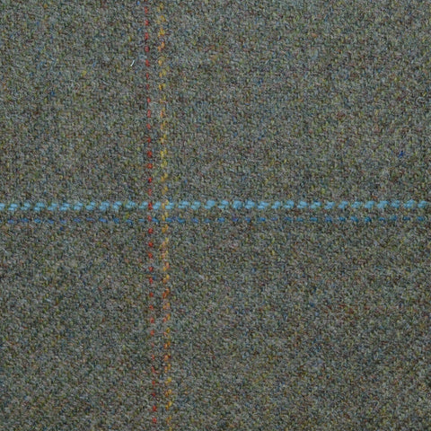 Moss Green with Blue, Yellow and Orange Check Tweed