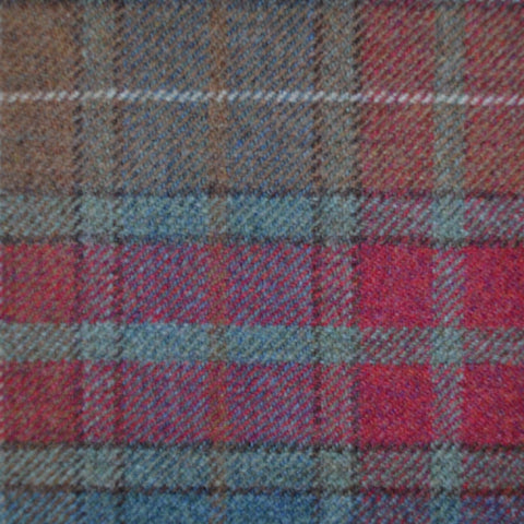 Red, Moss Green & Brown Multi Check Tweed