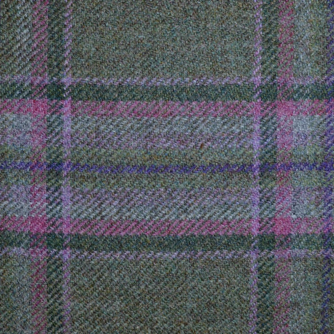 Moss Green, Pink & Purple Multi Check Tweed