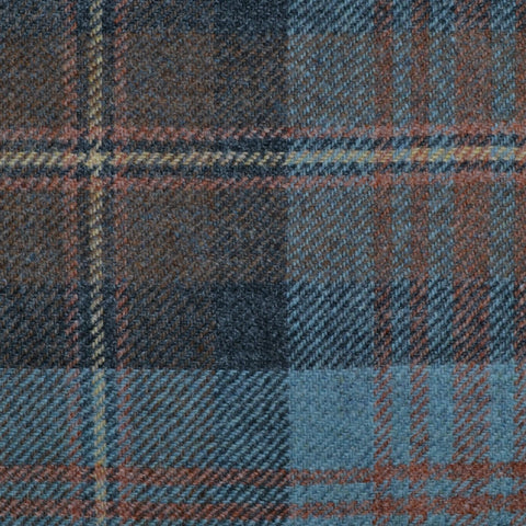 Light Blue, Brown & Orange Multi Check Tweed