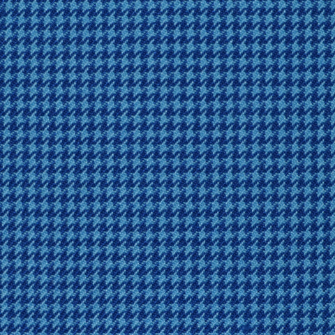 Light Blue and Navy Blue Dogtooth Wool Blend Suiting