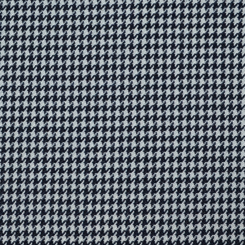 Navy Blue and White Dogtooth Wool Blend Suiting