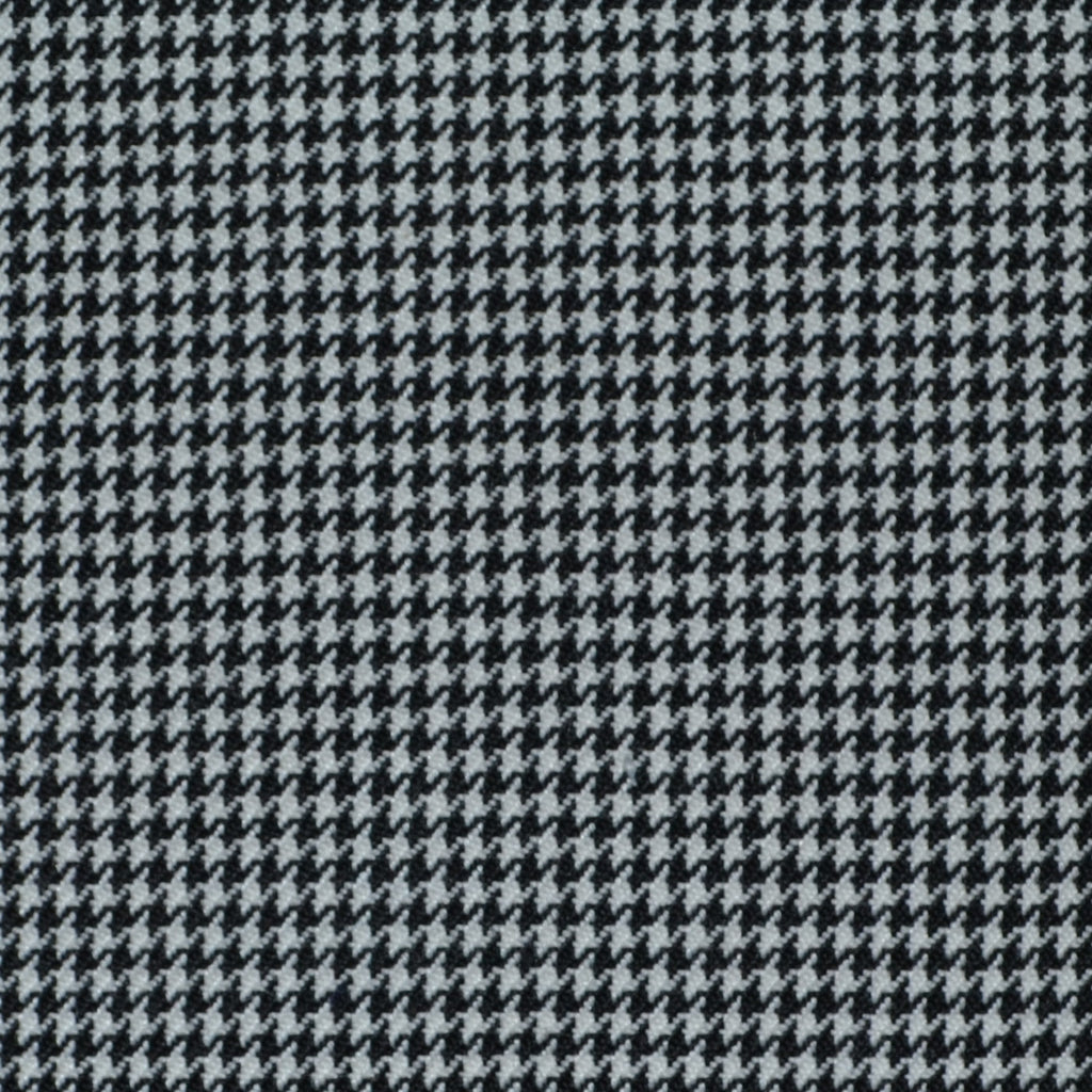 Black and White Dogtooth Wool Blend Suiting