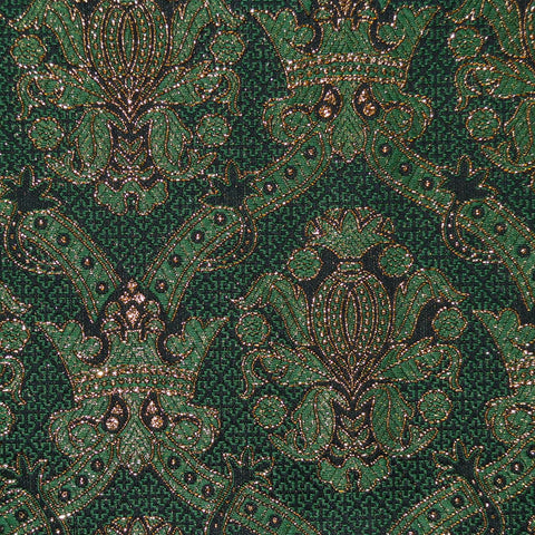 Green & Gold Damask Jacquard Metallic Jacketing
