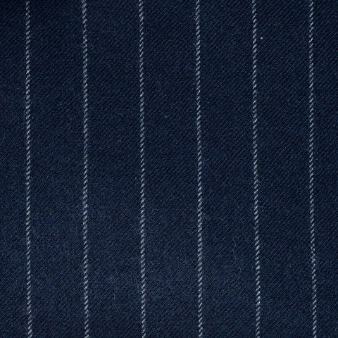Bright Navy Blue Chalkstripe All Wool Flannel