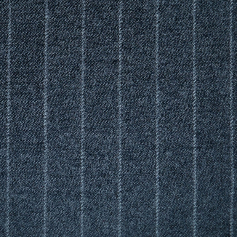 Medium Grey Chalkstripe All Wool Flannel - Sold Per Metre