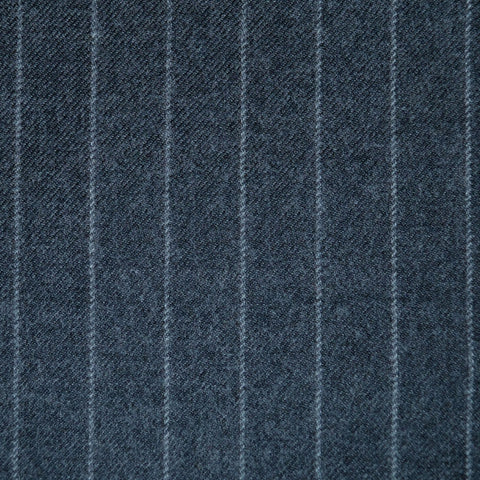 Light Grey Chalkstripe All Wool Flannel