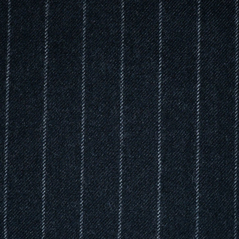 Charcoal Grey Chalkstripe All Wool Flannel