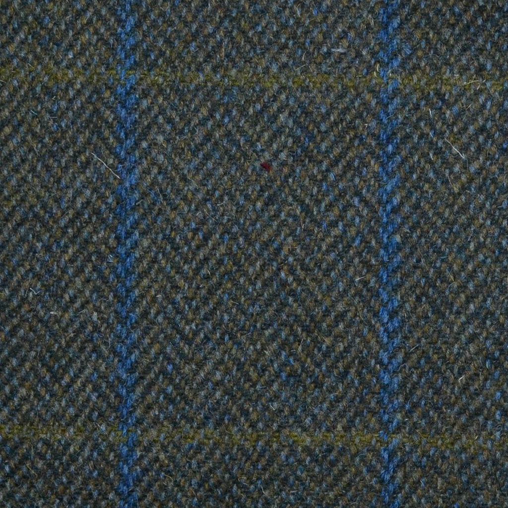 Green Herringbone with Blue & Olive Check Tweed