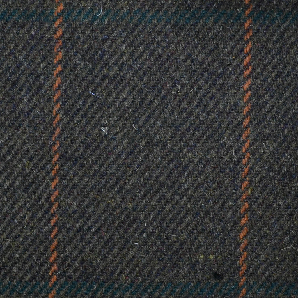 Brown with Orange & Green Check Tweed