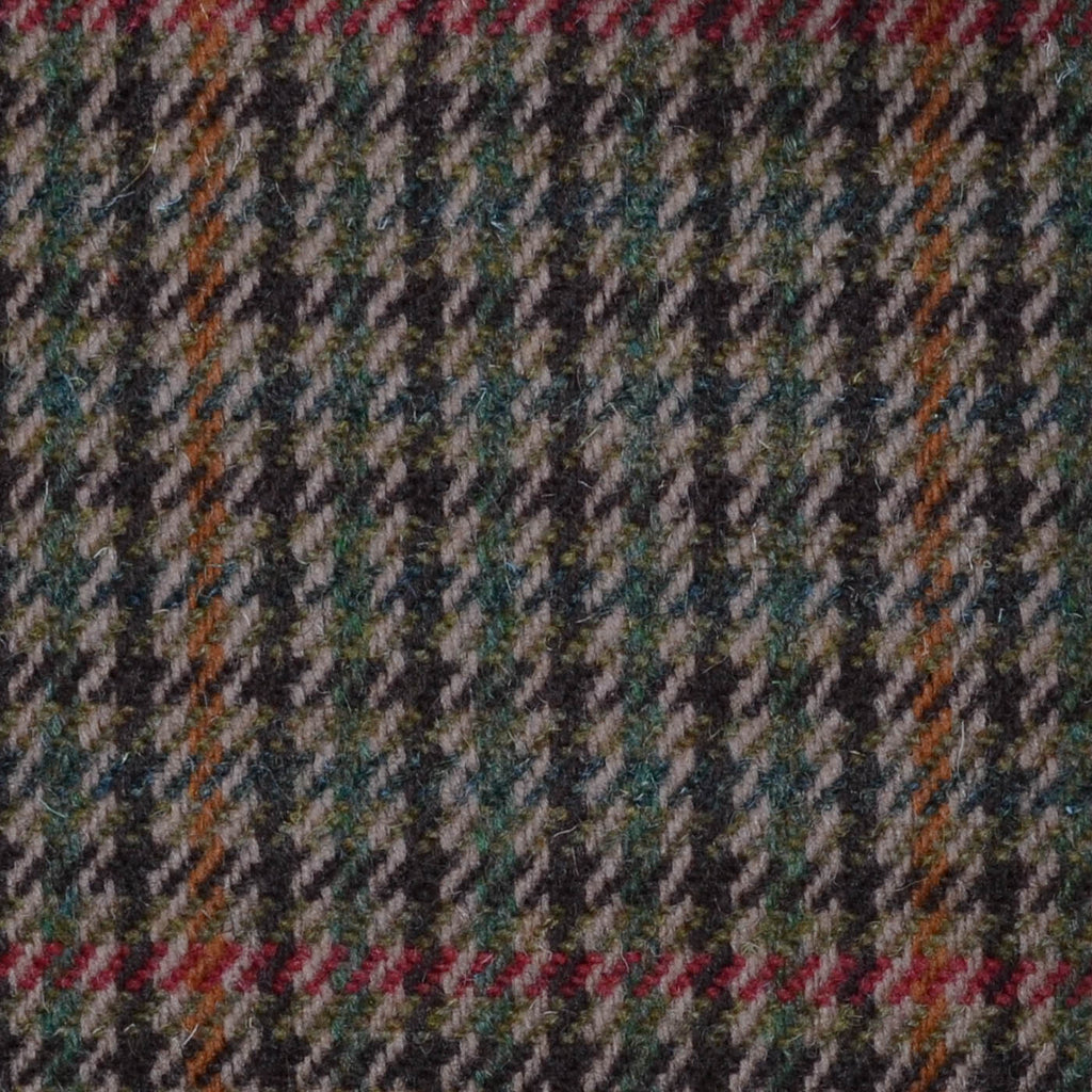 Brown, Orange Red & Green Dogtooth Check Tweed