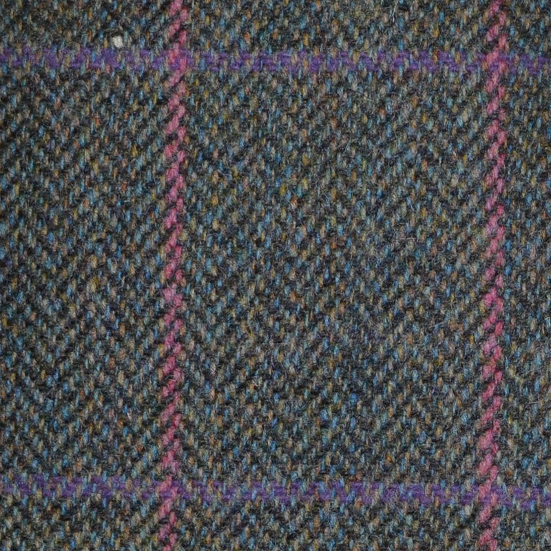 Green/Brown Herringbone with Pink & Fuchsia Check Tweed
