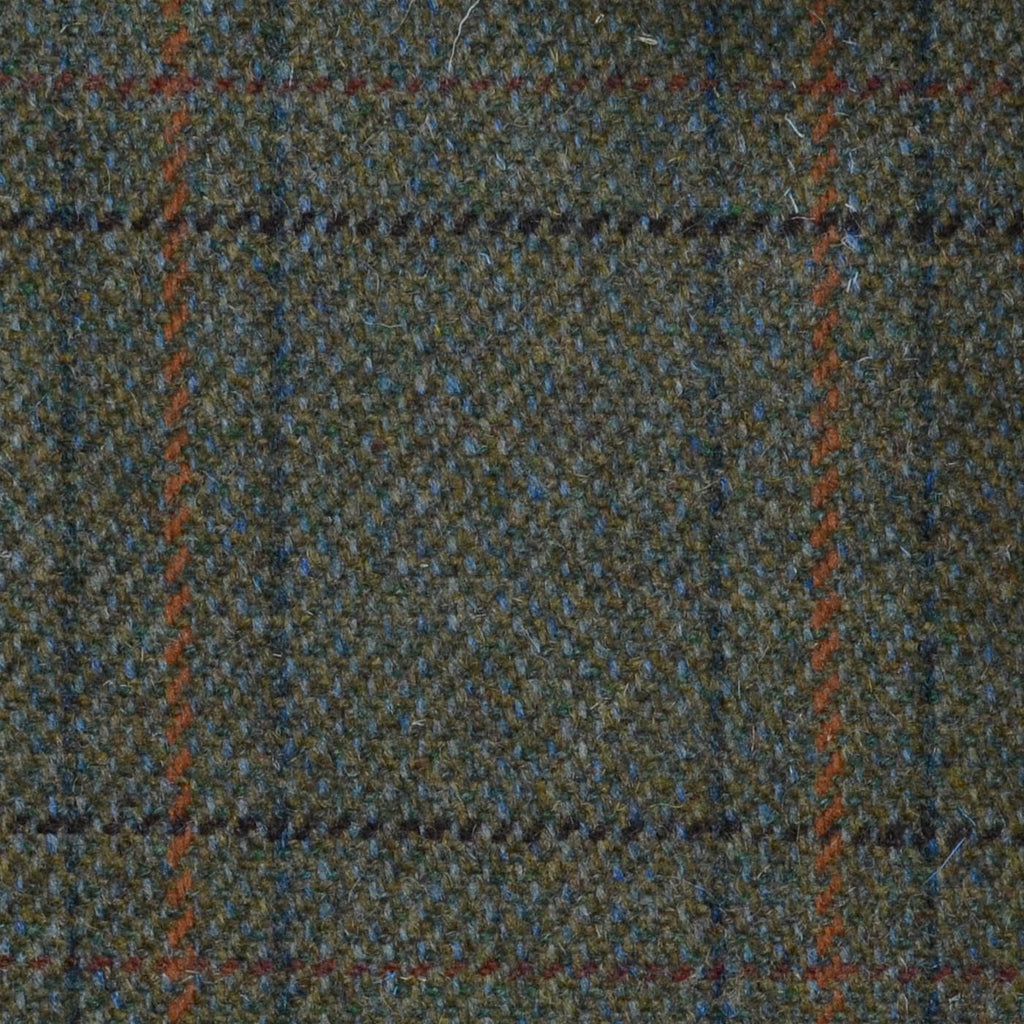 Green with Orange, Red, Brown & Green Triple Check Tweed
