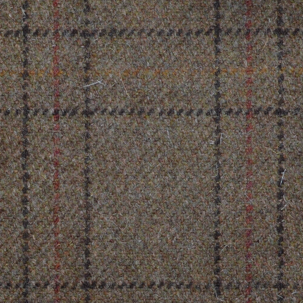 Brown with Orange & Brown Triple Check Tweed