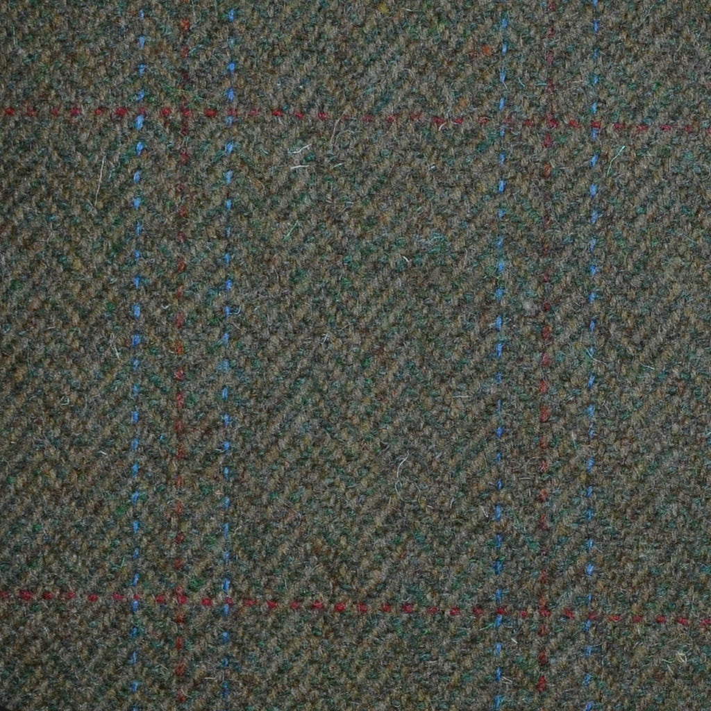 Green with Blue & Red Triple Check Tweed
