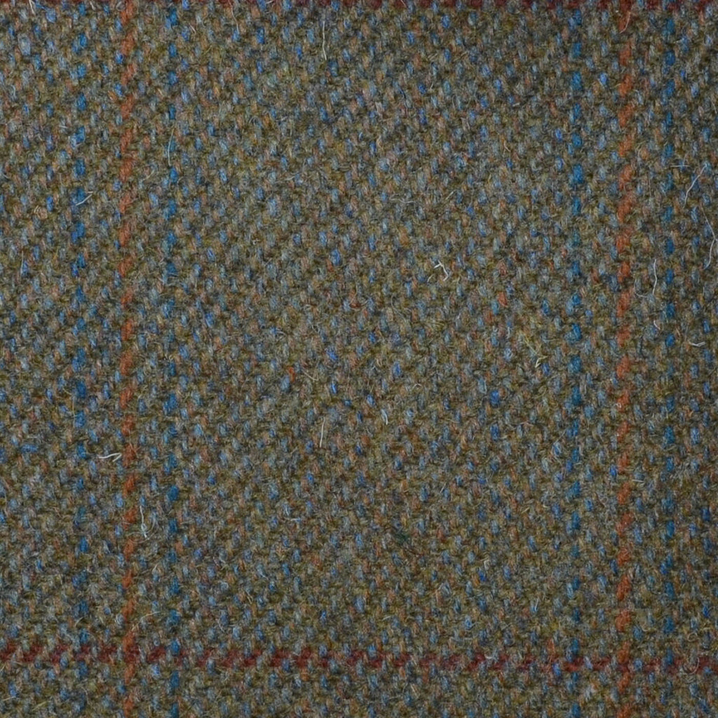 Brown/Green with Brown, Orange & Blue Triple Check Tweed