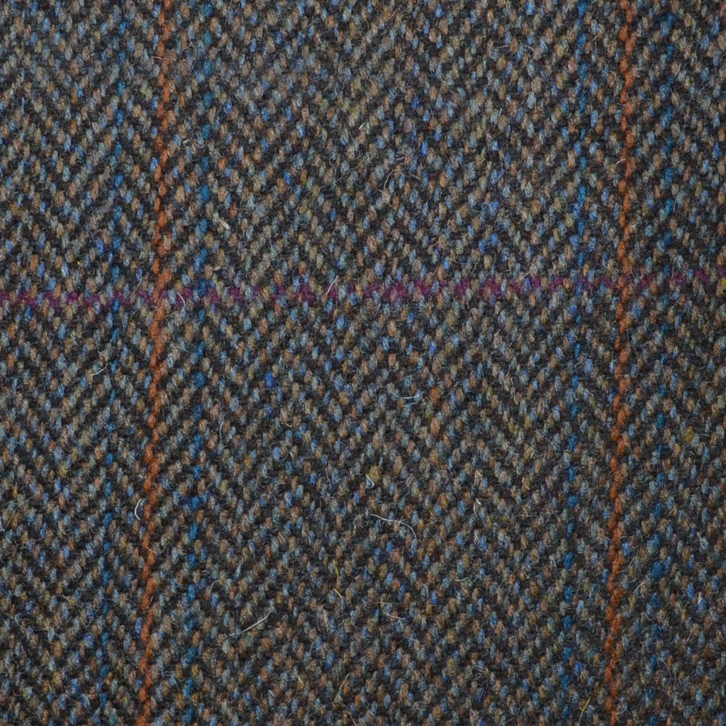Brown/Green Herringbone with Pink, Orange & Blue Triple Check Tweed