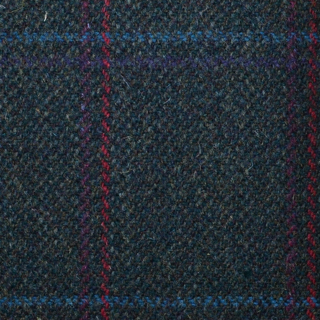 Moss Green with Red, Pink, Purple & Blue Check Tweed