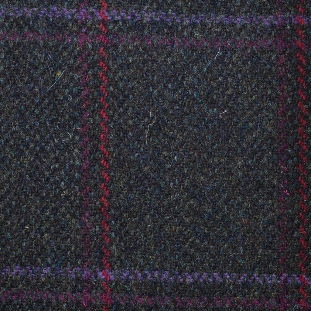 Brown/Green with Red, Pink & Purple Check Tweed
