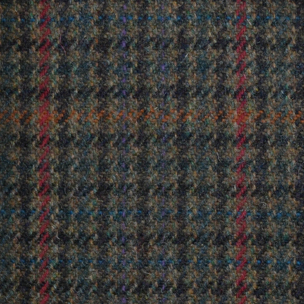 Green, Brown, Red & Orange Dogtooth Check Tweed
