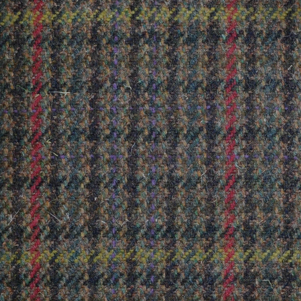 Green, Brown, Red & Yellow Dogtooth Check Tweed