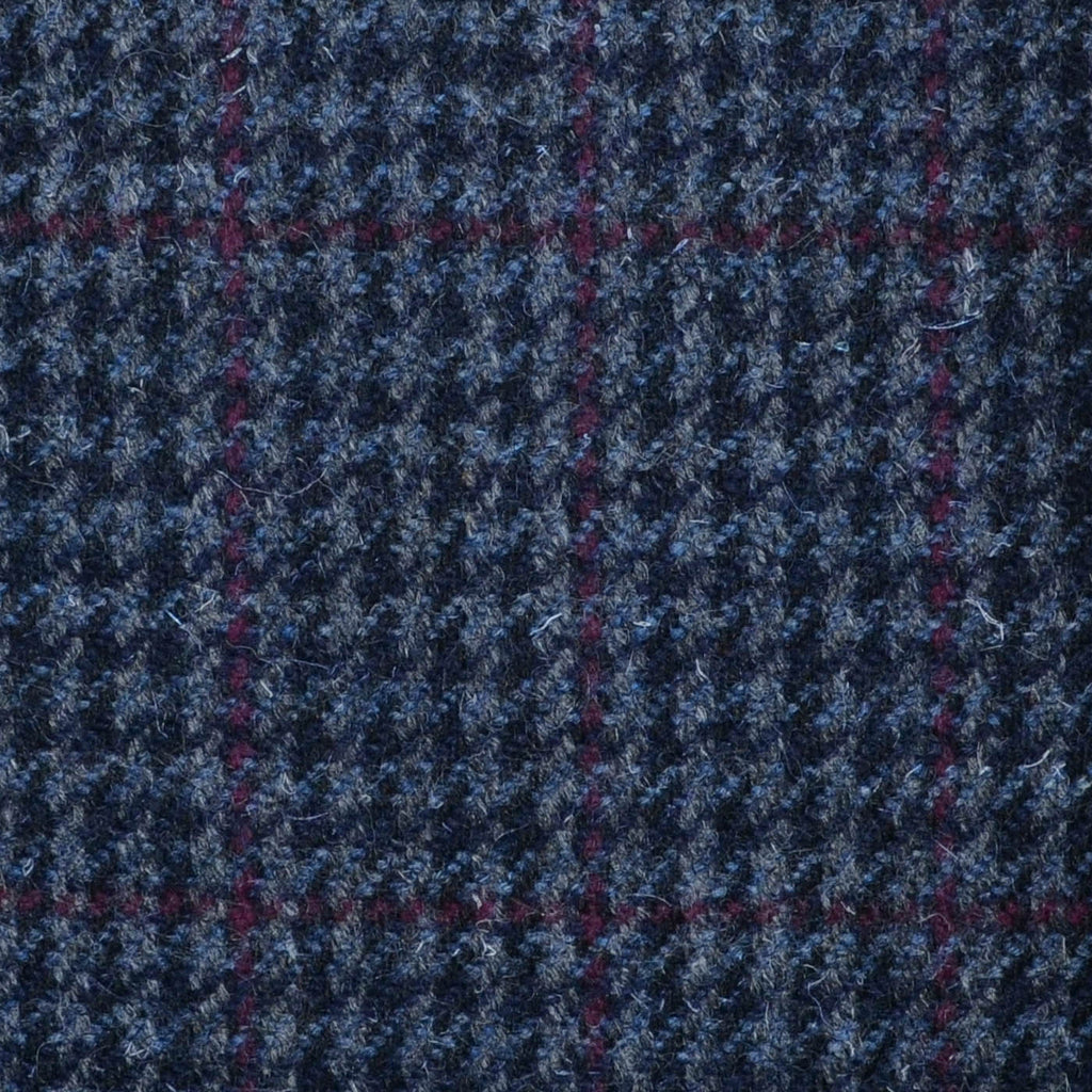 Grey, Navy Blue & Burgundy Dogtooth Check Tweed