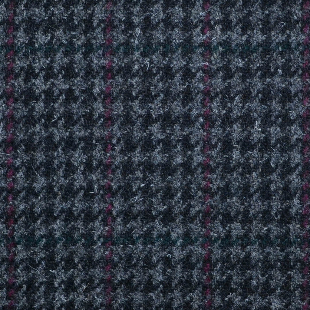 Grey, Black & Burgundy Dogtooth Check Tweed