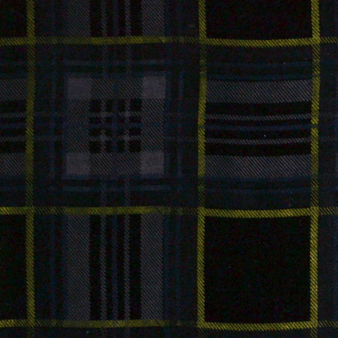 Grey, Blue and Green Tartan Silk Blend Velvet