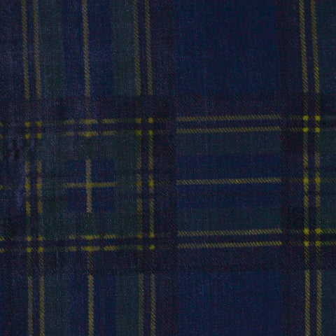 Blue and Green Tartan Silk Blend Velvet