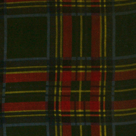Green, Red, Yellow and Blue Tartan Silk Blend Velvet