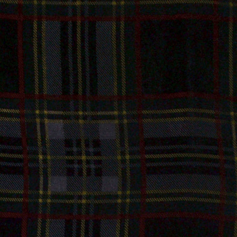 Grey, Red and Yellow Tartan Silk Blend Velvet