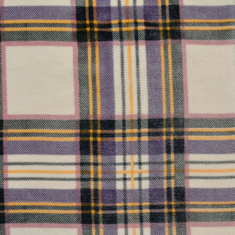 Cream, Pink and Yellow Tartan Silk Blend Velvet