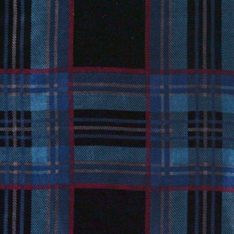 Navy Blue, Light Blue and Red Tartan Silk Blend Velvet