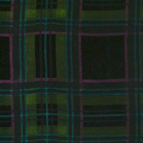 Green, Pink and Blue Tartan Silk Blend Velvet
