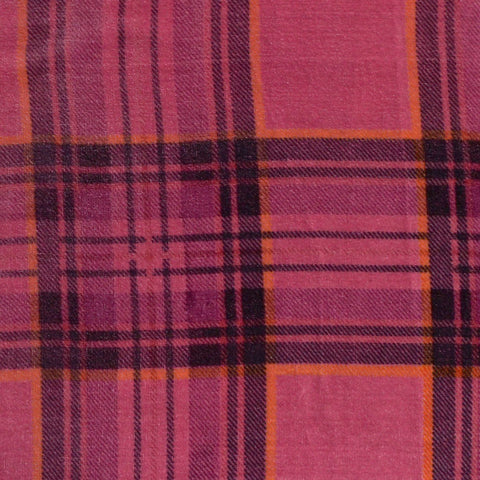 Pink, Navy Blue and Orange Tartan Silk Blend Velvet