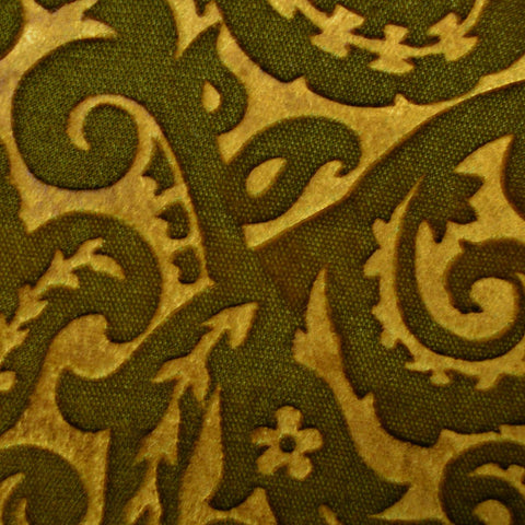 Sand and Brown Paisley Embossed Blended Velvet