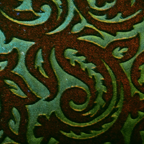 Brown and Green Paisley Embossed Blended Velvet