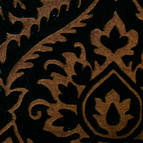 Brown and Black Paisley Embossed Blended Velvet