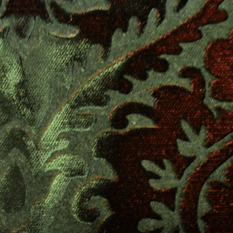 Green and Brown Paisley Embossed Blended Velvet