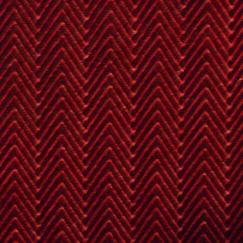 Wine Red Herringbone Embossed Blended Velvet