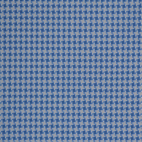 White & Blue Dogtooth Check Cotton Shirting