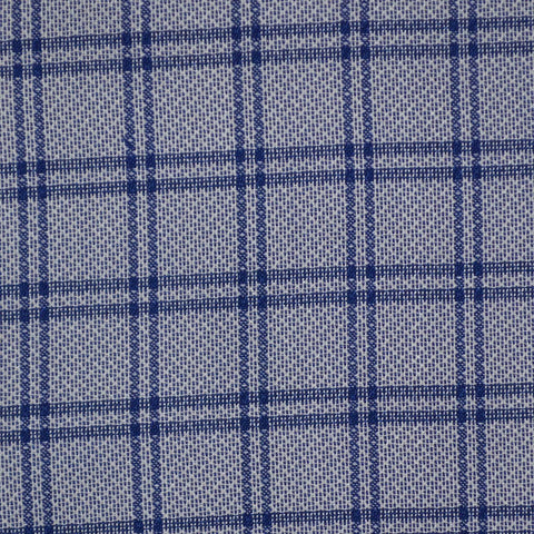 Blue with Dark Blue Check Cotton Shirting