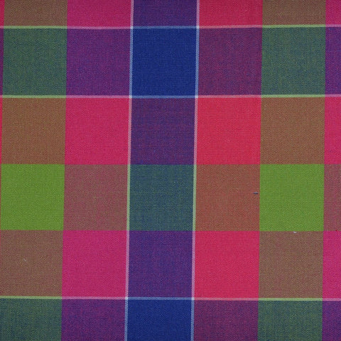 Pink, Green, Purple & Blue Multi Check Cotton Shirting