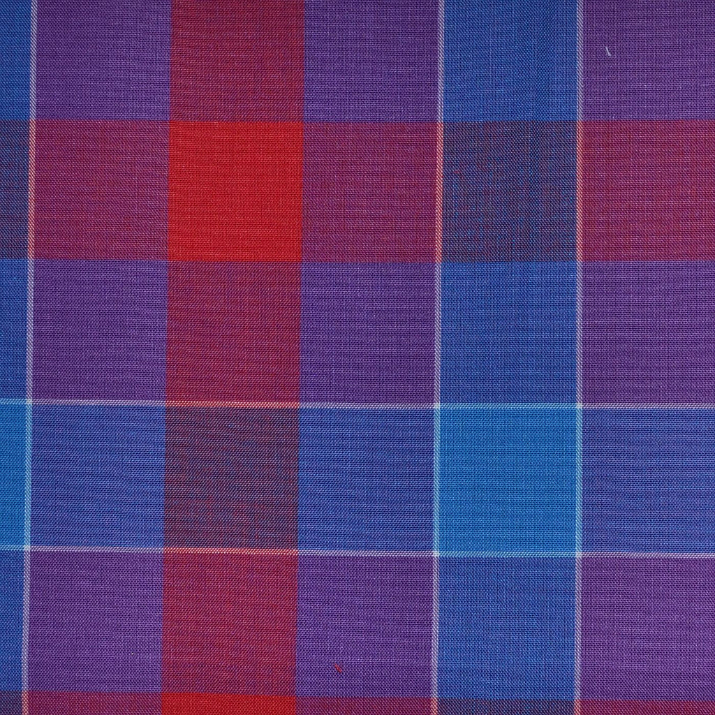 Purple, Red & Blue Multi Check Cotton Shirting