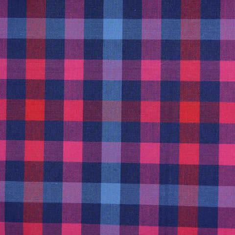 Blue, Red & Pink Multi Check Cotton Shirting